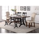 Crown Mark Astor Dining Set with Bench - Item Number: 2105T-4284-TOP+BASE+2x5S+BENCH+2x6S