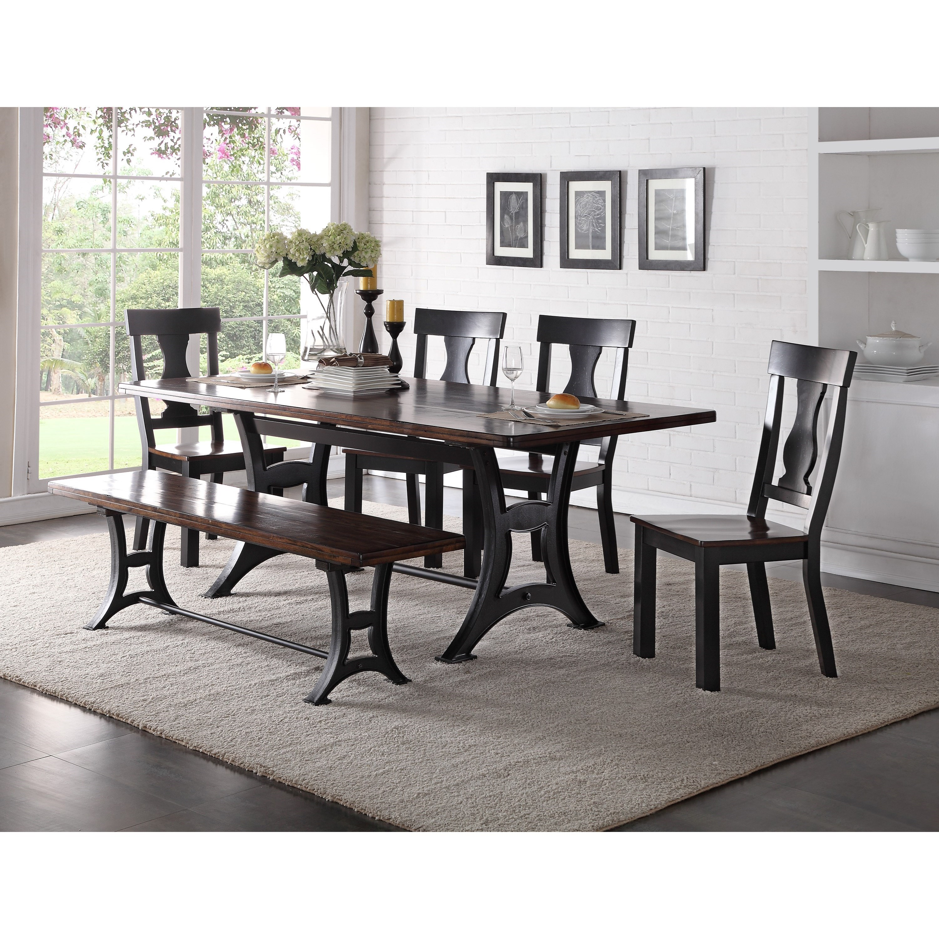Crown Mark Astor Dining Set with Bench - Item Number: 2105T-4284-TOP+BASE+4x5S+BENCH