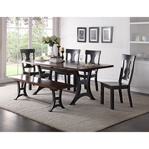 Crown Mark Astor Dining Set with Bench