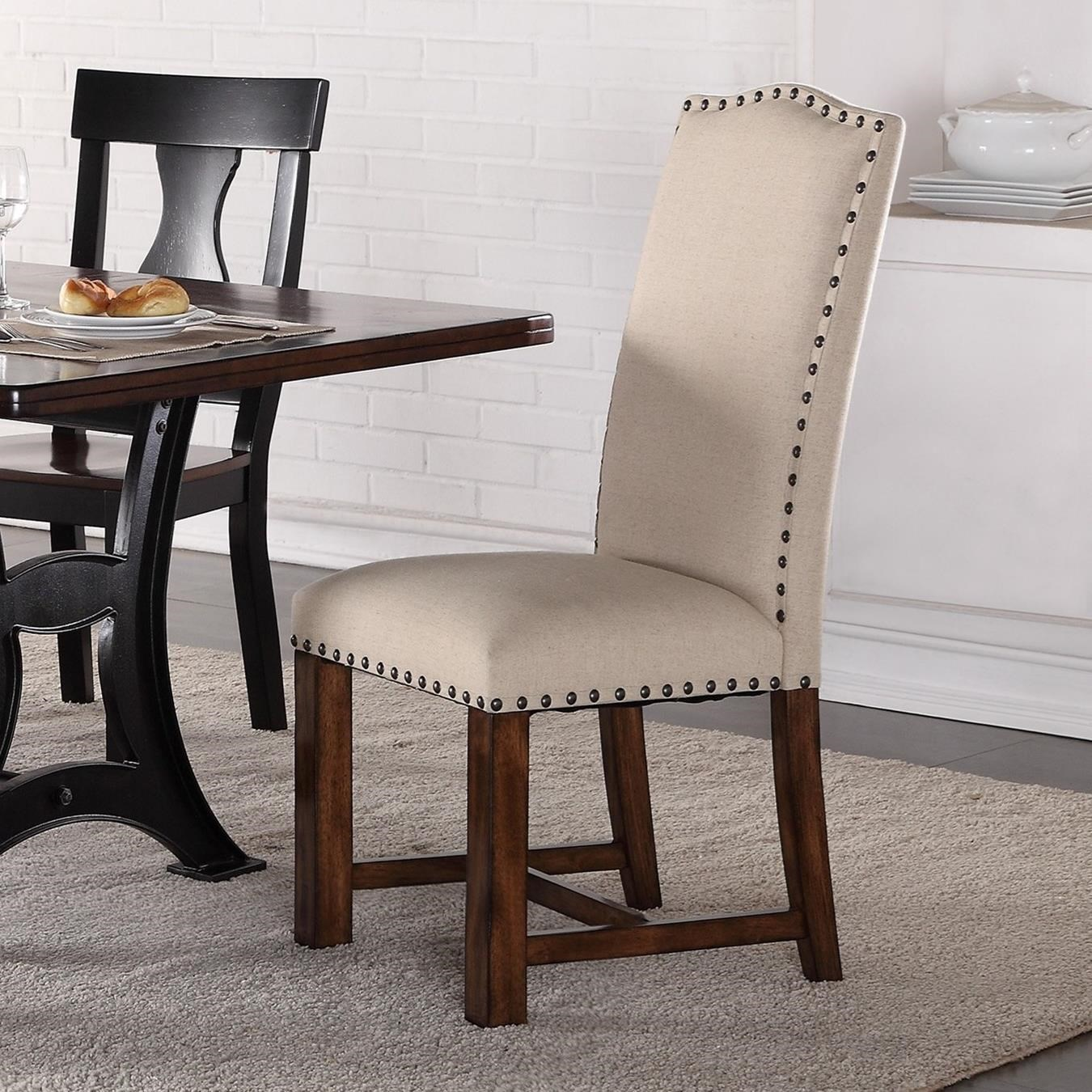 Crown mark astor 2106s upholstered parson chair with nailhead trim dunk bright furniture - Nailhead dining room chairs ...