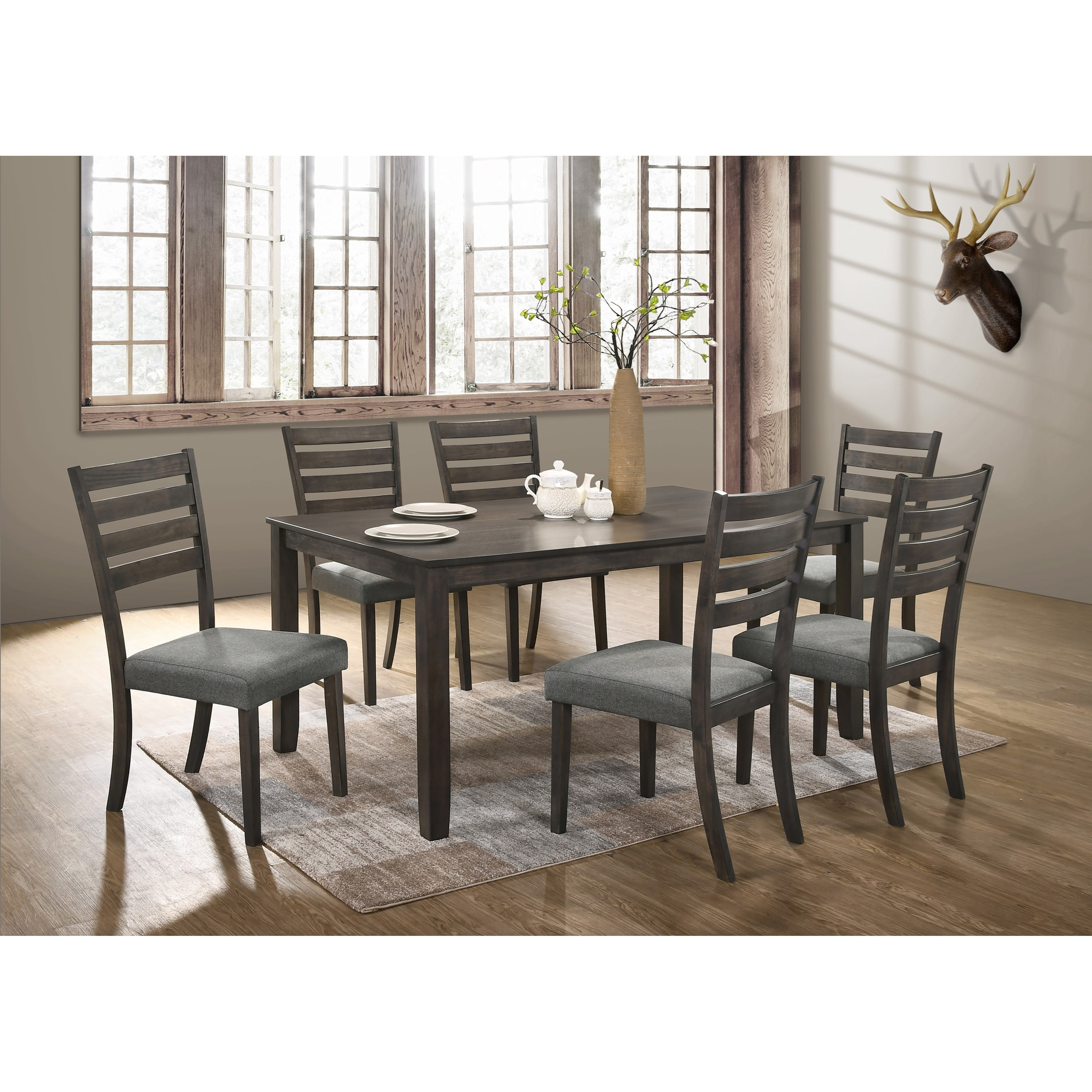 Crown Mark Aubery Dining 7 Piece Table and Chair Set - Item Number: 2340GY-T-3864+6X2340GY-S