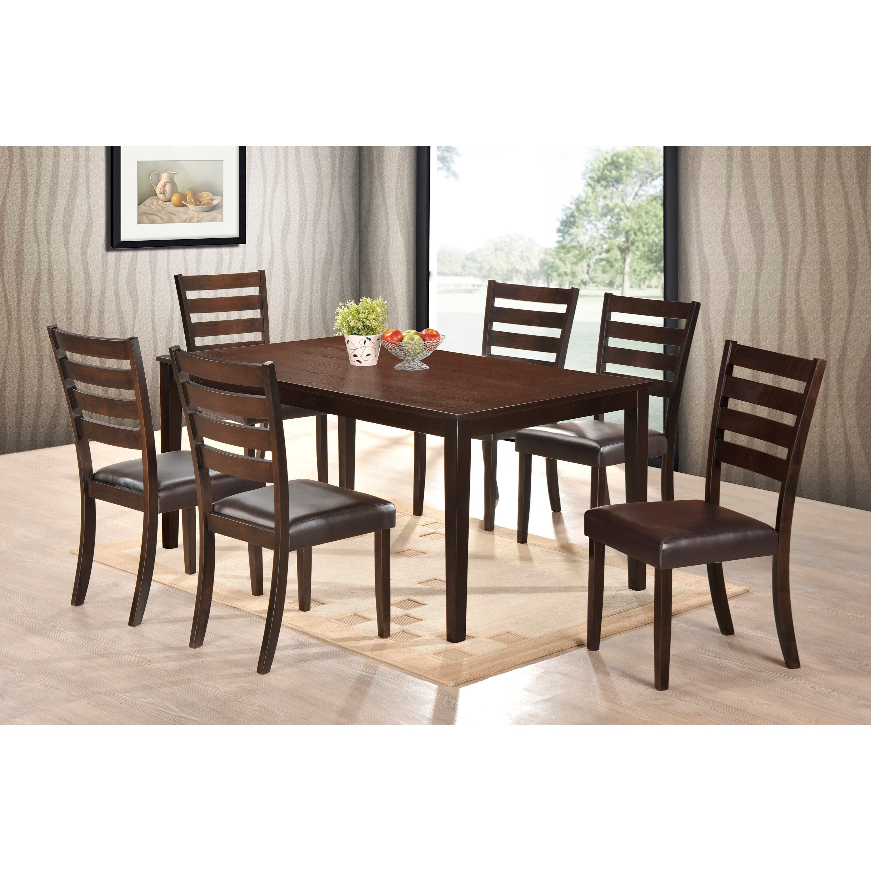 Crown Mark Aubery Dining 7 Piece Table and Chair Set - Item Number: 2340T-3864+6x2340S