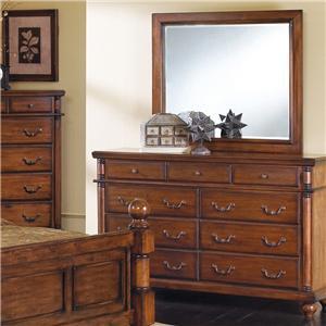 Crown Mark Augusta 9 Drawer Dresser with Mirror Combination