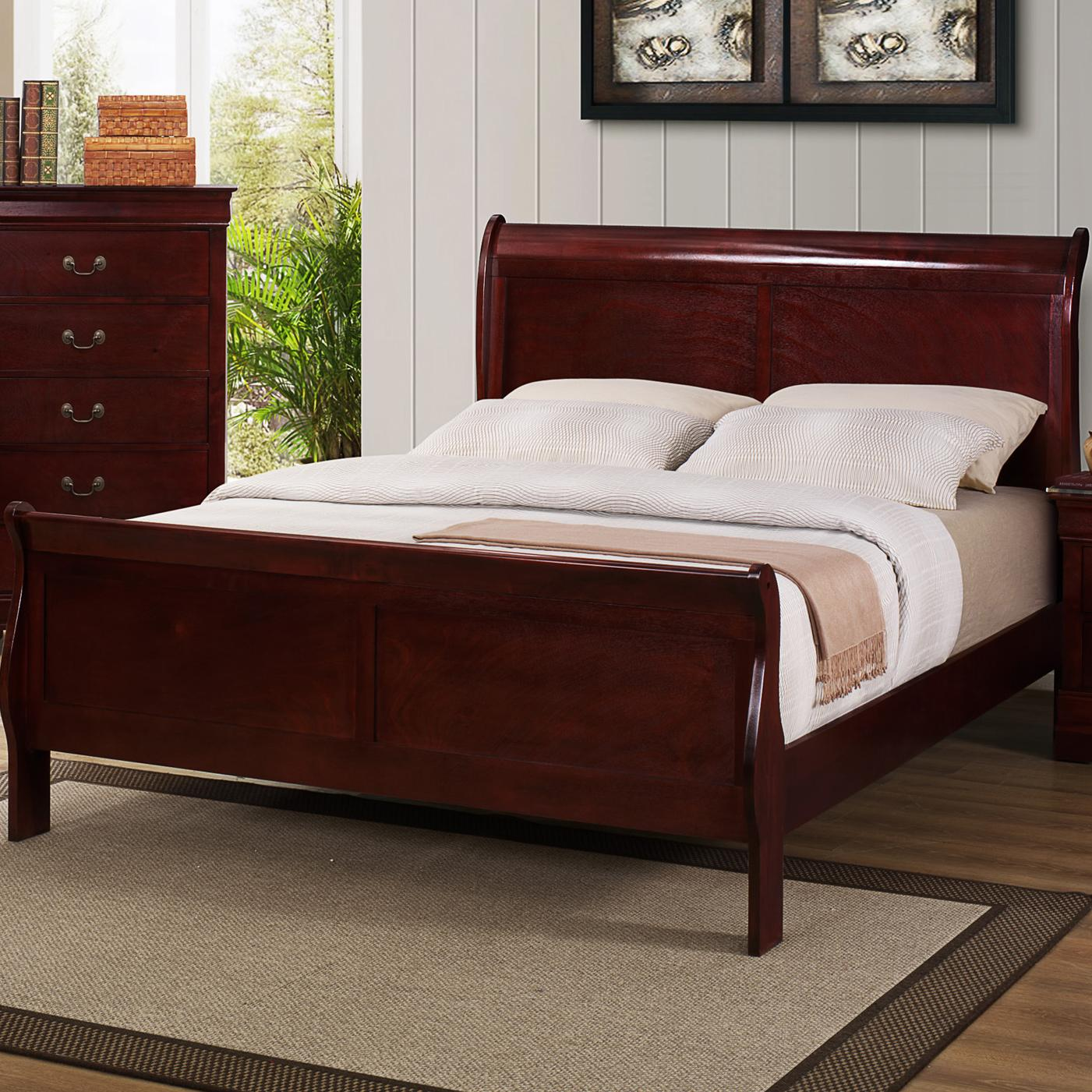 CM B3800 Louis Phillipe Queen Sleigh Bed - Item Number: B3800-Q-HB+FB+RL