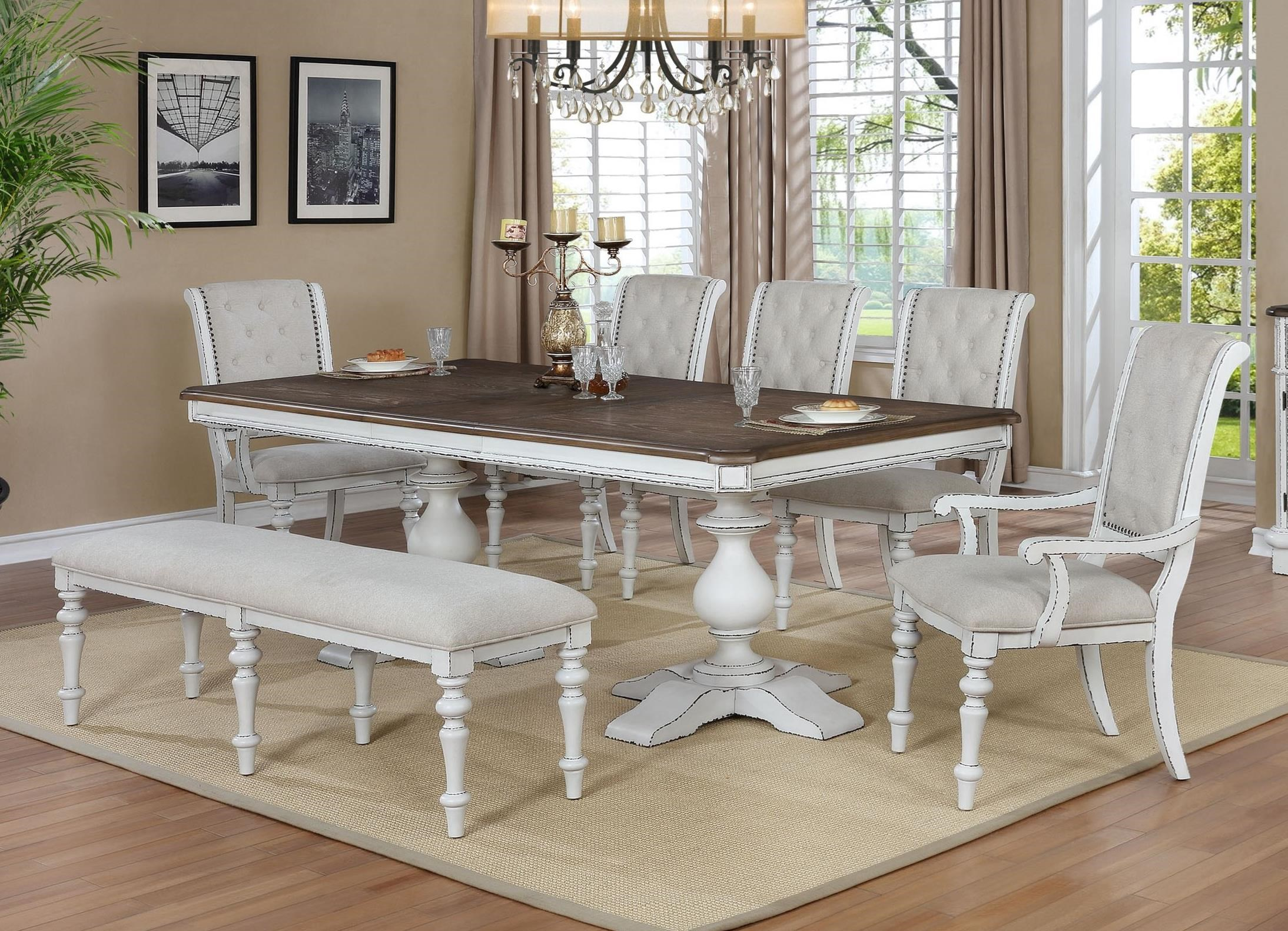 Bardot 7 Piece Dining Set with Bench by Crown Mark at Northeast Factory Direct
