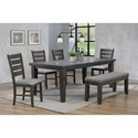 Crown Mark Bardstown 6 Piece Dining Set w/ 4 Chairs & Bench - Item Number: 2152GY-T-4282+4xS+BENCH