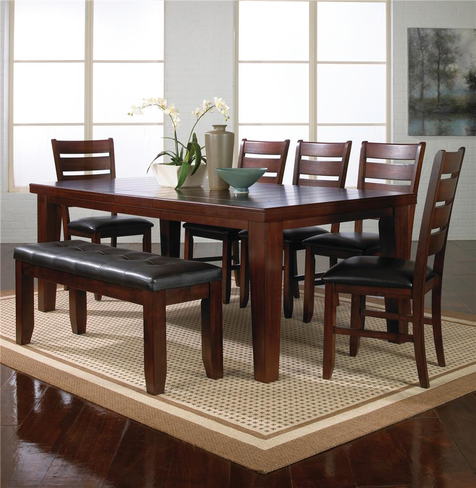 Crown Mark Bardstown 7 Piece Table Set W 5 Chairs 1 Bench