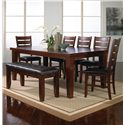 Crown Mark Bardstown 7 Piece Table Set w/ 5 Chairs & 1 Bench - Item Number: 2152T-4282+5x2152S+2152-BENCH