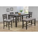Crown Mark Bardstown Pub Table Set with Bench - Item Number: 2752GY-T-4278+4xS-24+BENCH