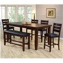 Crown Mark Bardstown Pub Table Set with Bench - Item Number: 2752T-4278+4x2752S-24+2752-BENCH