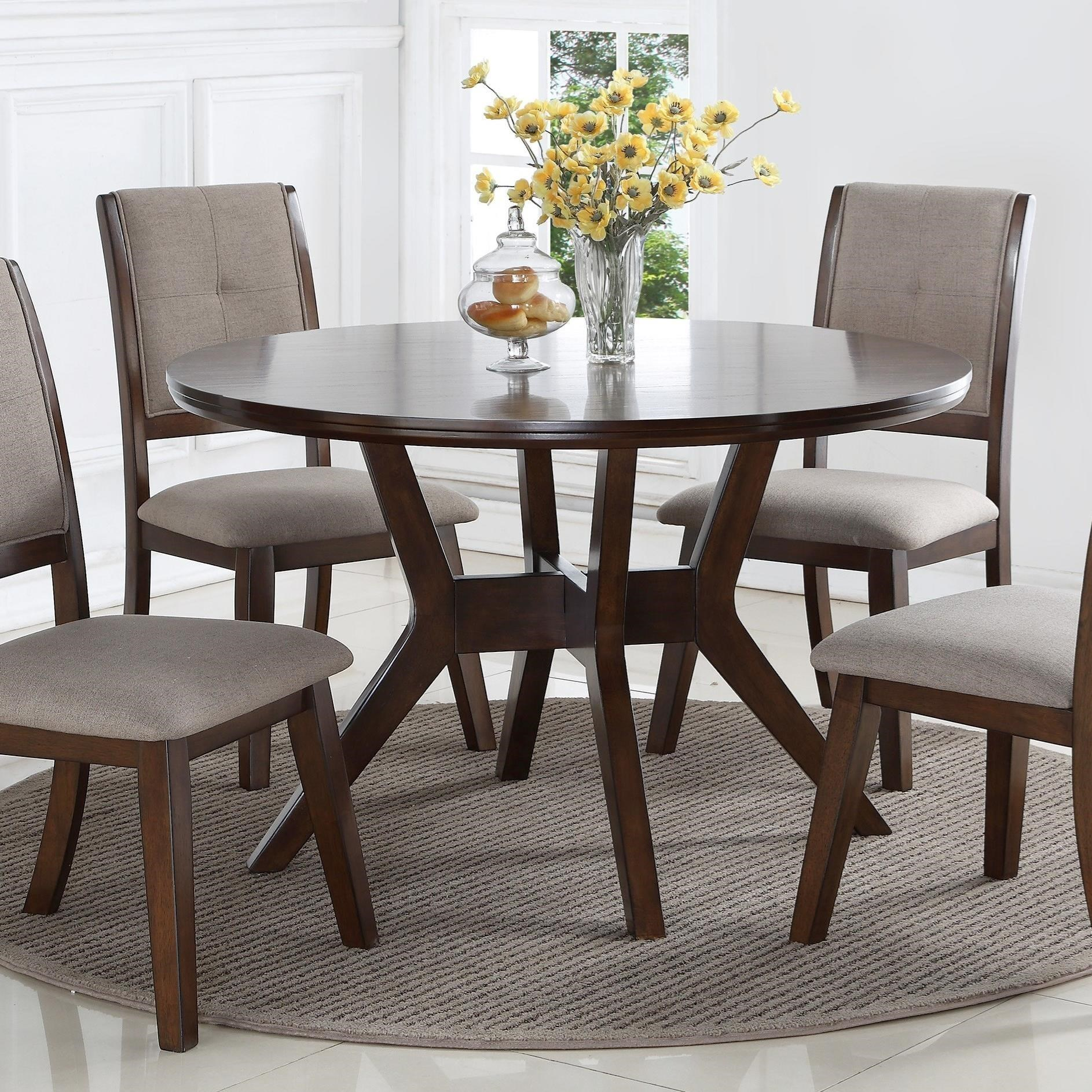 Mid Century Round Dining Rooms: Crown Mark Barney 2322T-48 Mid-Century Modern Round Dining