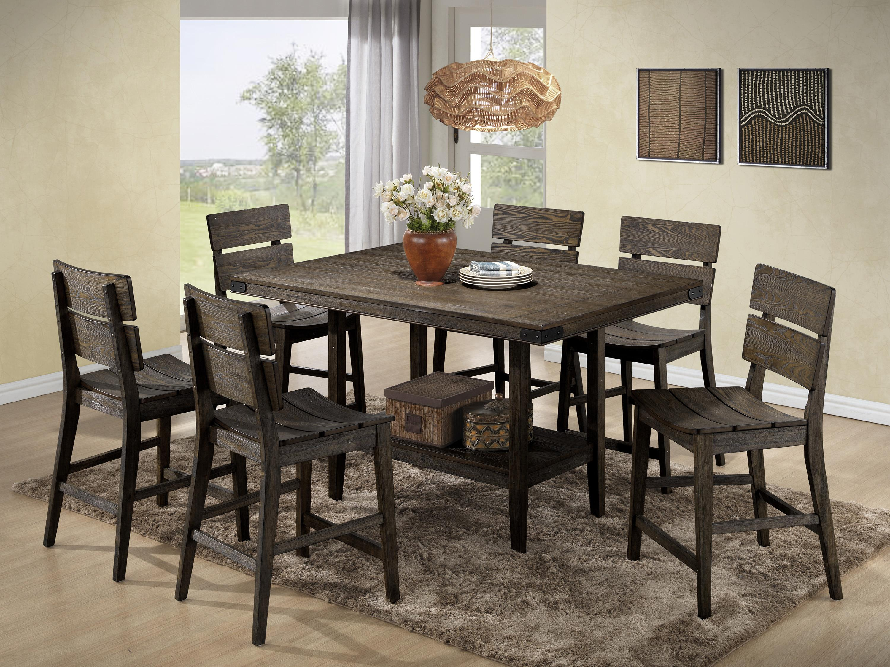 Crown Mark Brandon 7 Piece Counter Height Set - Item Number: 2781T-5842+6xS-24