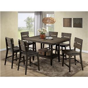 Crown Mark Brandon 7 Piece Counter Height Set