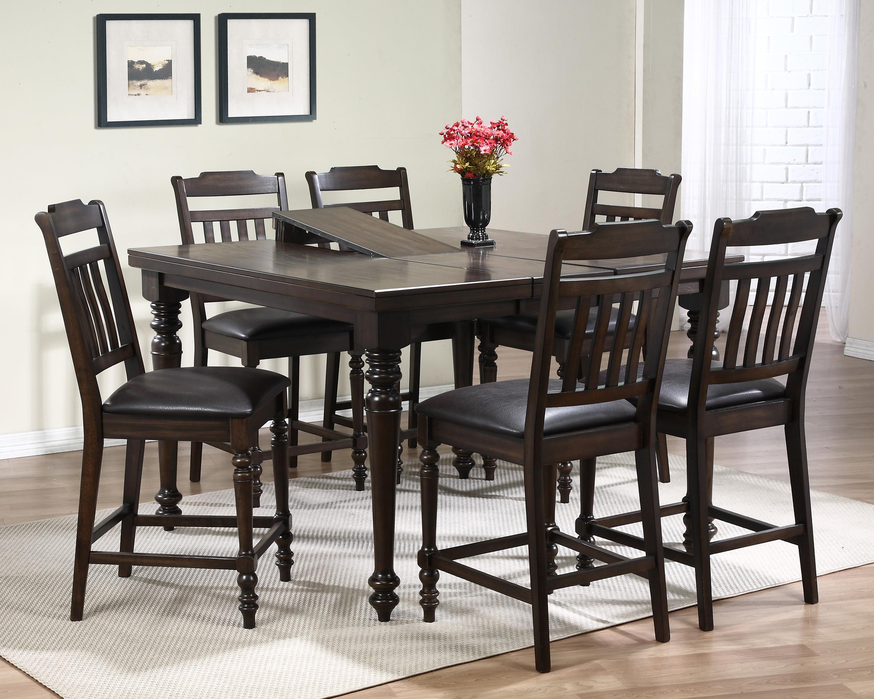 Crown Mark Brayden Table and Chair Set - Item Number: 2751T-5454-TOP+LEG+6x2751S-24