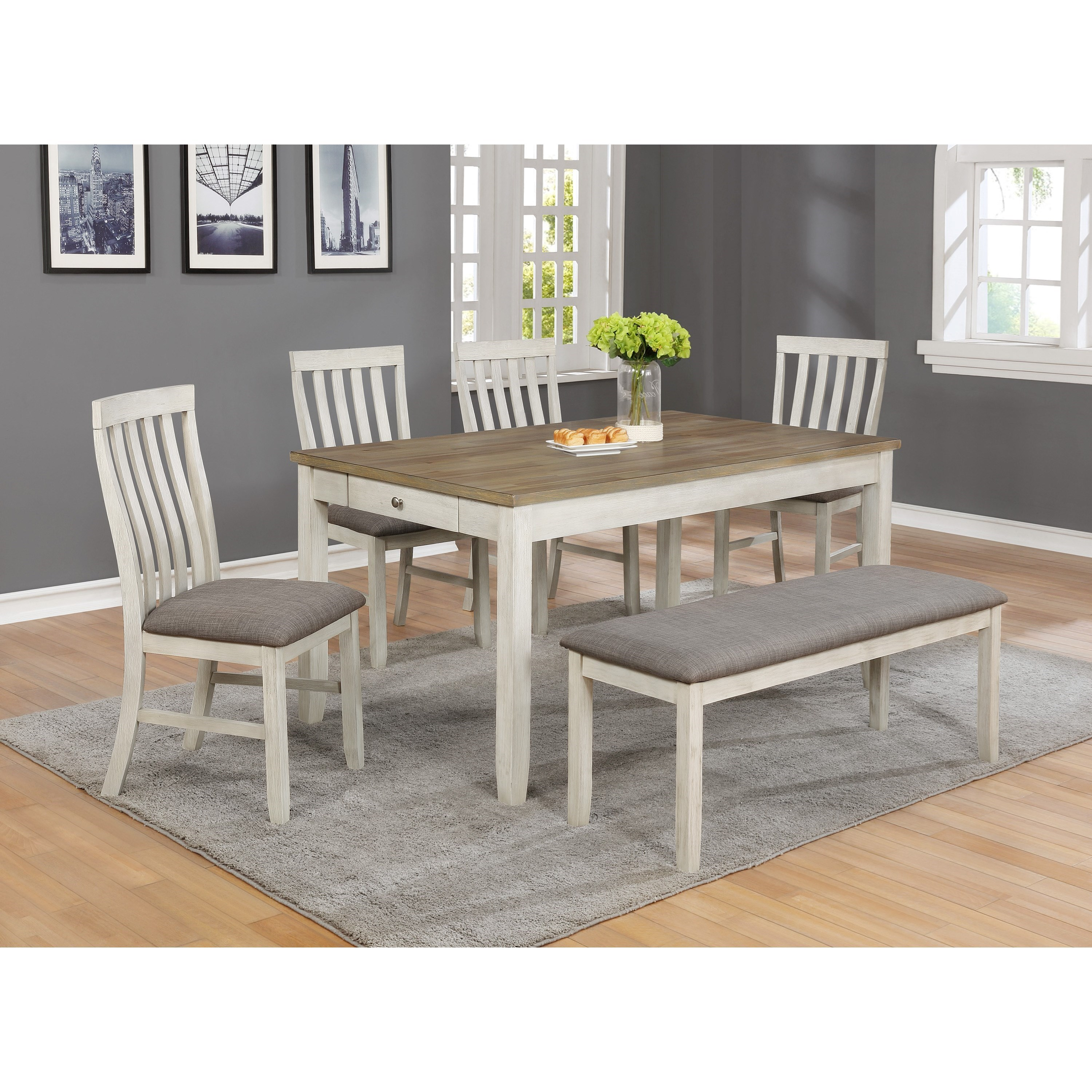 Image of: Crown Mark Nina Table Chair Set With Bench Pedigo Furniture Table Chair Set With Bench