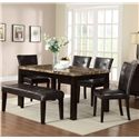 Crown Mark Bruce Rectangular Dining Table with Faux Marble Top - Shown with Bench & Chairs. Bench No Longer Available