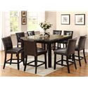 Crown Mark Bruce Square Counter Height Table with Faux Marble Top - Shown with Counter Stools