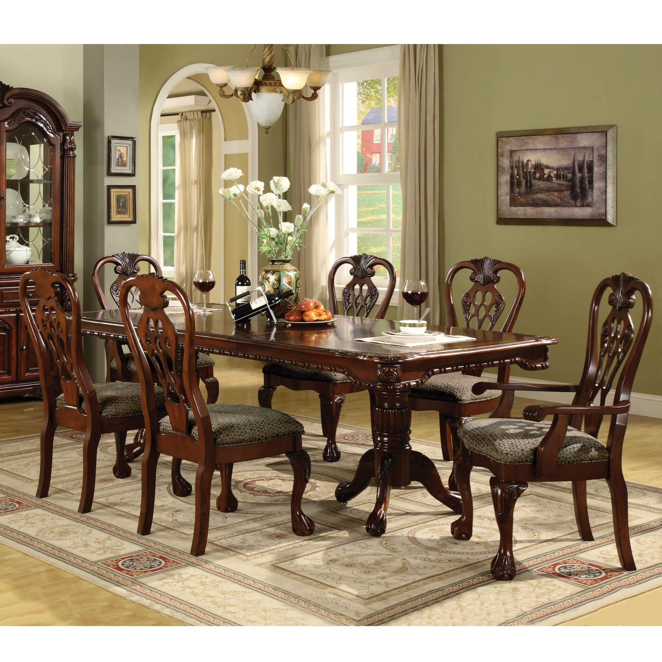 Best Place To Buy Dining Room Set: Crown Mark Brussels Double Pedestal Dining Table And