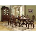 Crown Mark Brussels Double Pedestal Dining Table and Chairs with Upholstered Seats - Shown with Buffet and Hutch