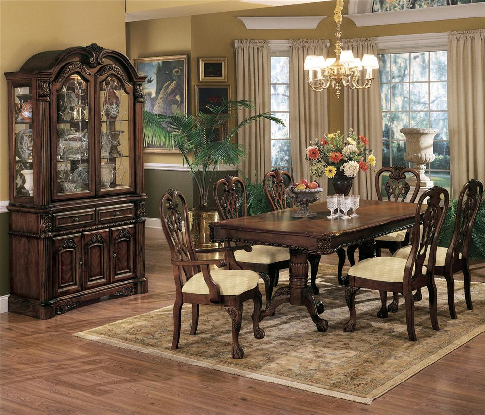 Crown Mark Brussels Double Pedestal Dining Table With Two 12 Inch Leaves Royal Furniture