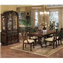 Crown Mark Brussels Double Pedestal Dining Table with Two 12 Inch Leaves - Shown with Side Chairs, Arm Chairs, Buffet and Hutch