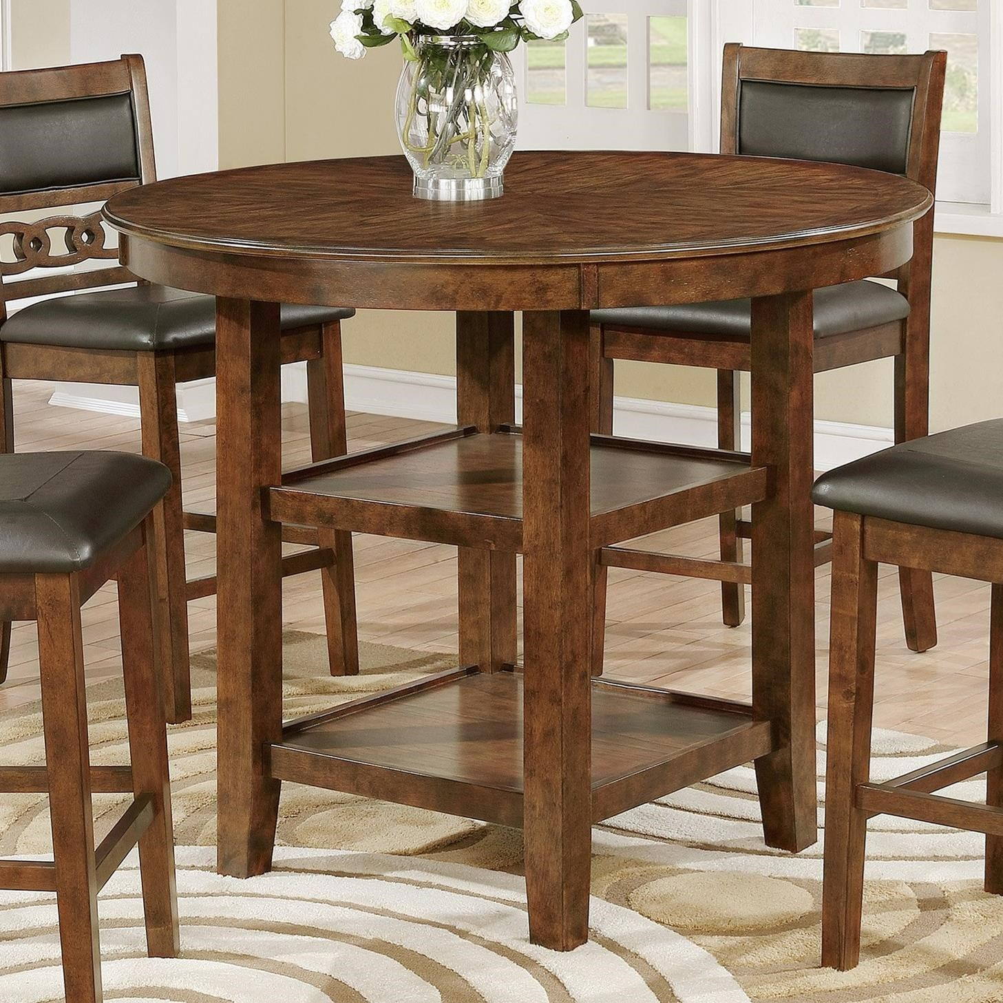 Crown Mark Cally 2716t 42 Round Counter Height Table With 2 Shelves