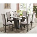 Crown Mark Camelia Grey 7 Piece Table and Chair Set - Item Number: 1210GY-4272-BASE+LEG+GL+6xGY-S