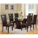 Crown Mark Camelia Espresso Dining Side Chair with Upholstered Seat - Shown with Dining Table