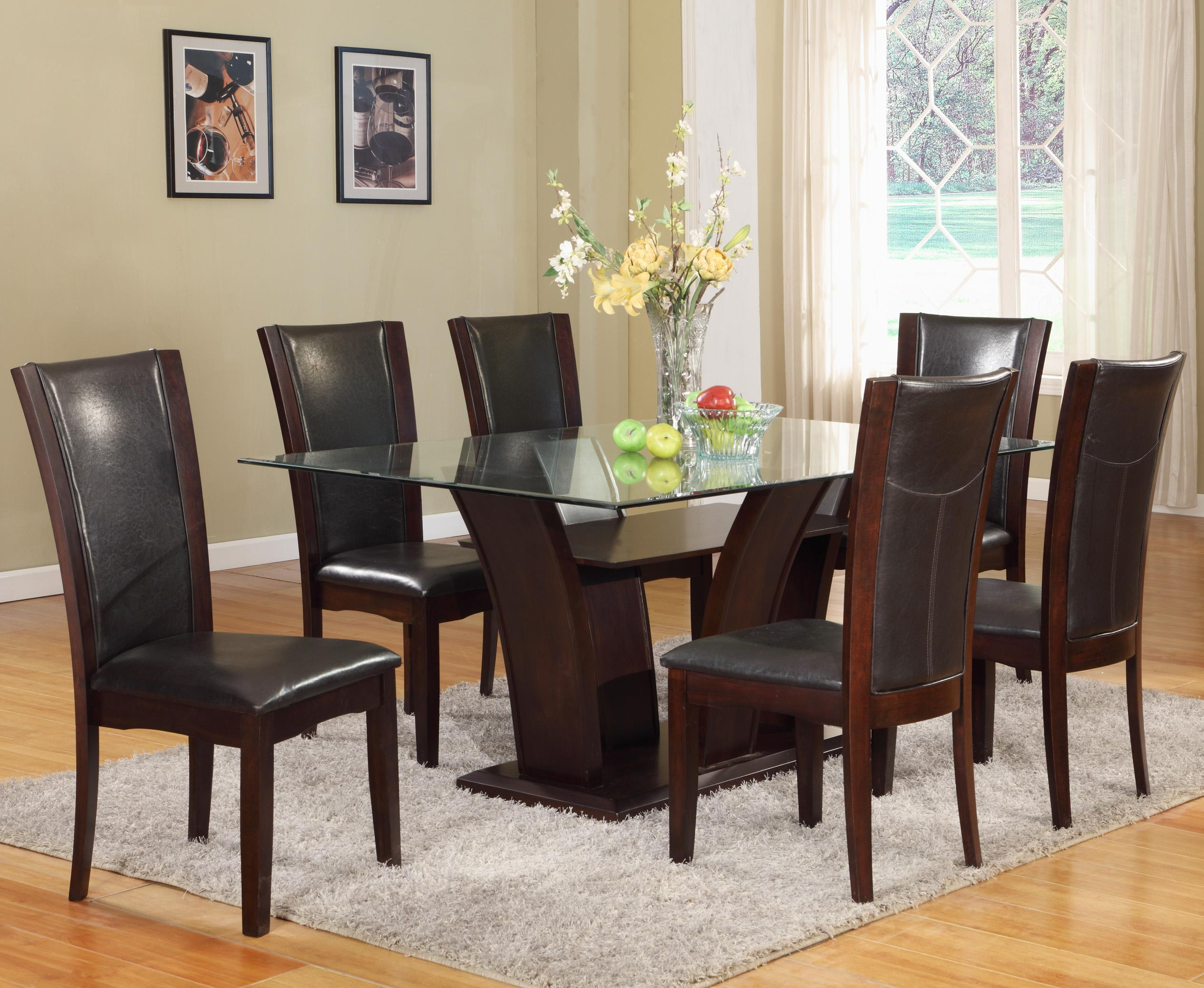 Crown Mark Camelia 7 Piece Table & Chair Set - Item Number: 1210T-4272-BASE+LEG+GL+6xS-ESP