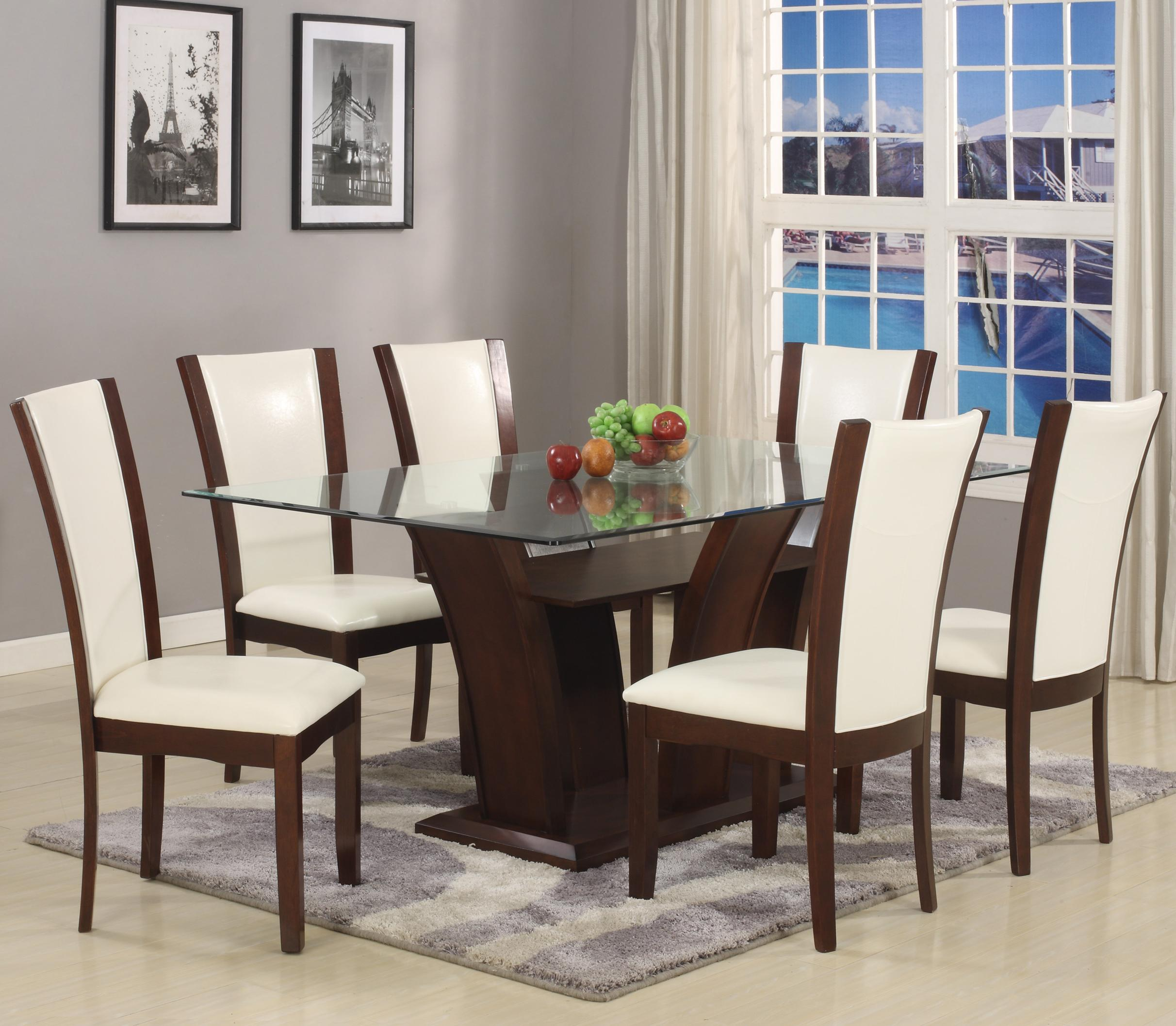 Crown Mark Camelia 7 Piece Table & Chair Set - Item Number: 1210T-4272-BASE+LEG+GL+6xS-WH