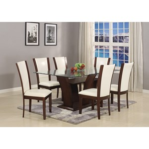 Crown Mark Camelia White 7 Piece Table and Chair Set