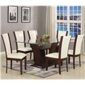 Crown Mark Camelia White Rectangular Dining Table with Glass Top - Shown with Dining Side Chairs