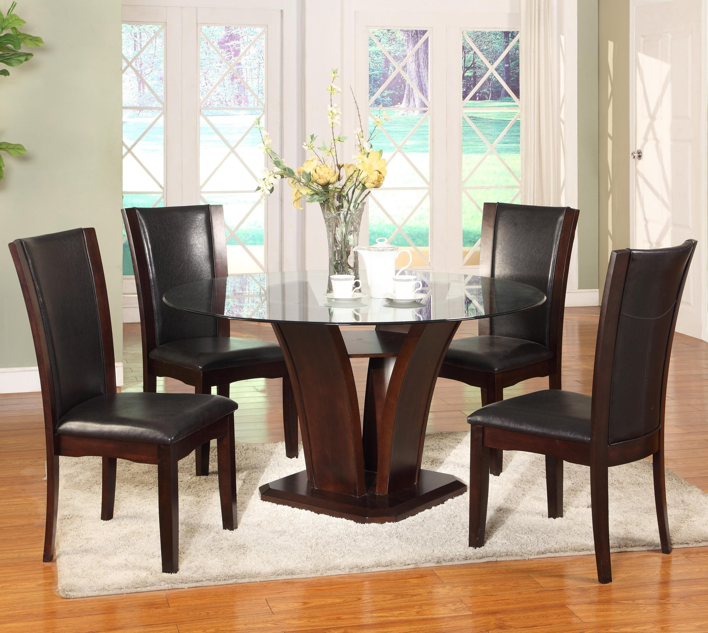 Crown Mark Camelia Espresso 5 Piece Table and Chair Set - Item Number: 1210T-54-BASE+LEG+GL-54+4x1210S-ESP