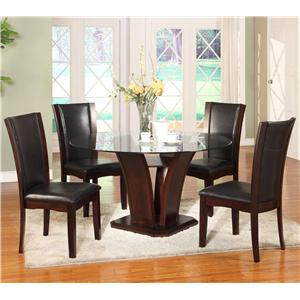 Crown Mark Camelia 5 Piece Espresso Table & Chair Set