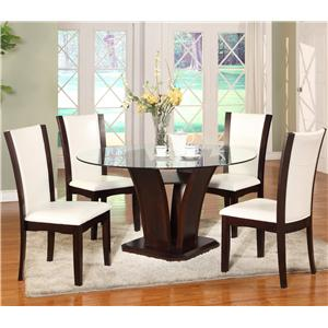 Crown Mark Camelia 5 Piece White Dining Set