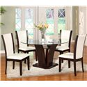 Crown Mark Camelia 5 Piece White Dining Set - Item Number: 1210T-54-BASE+LEG+GL-54+4x1210S-WH