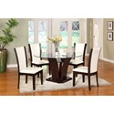 Crown Mark Camelia White 5 Piece Table and Chair Set - Item Number: 1210T-54-BASE+LEG+GL-54+4x1210S-WH