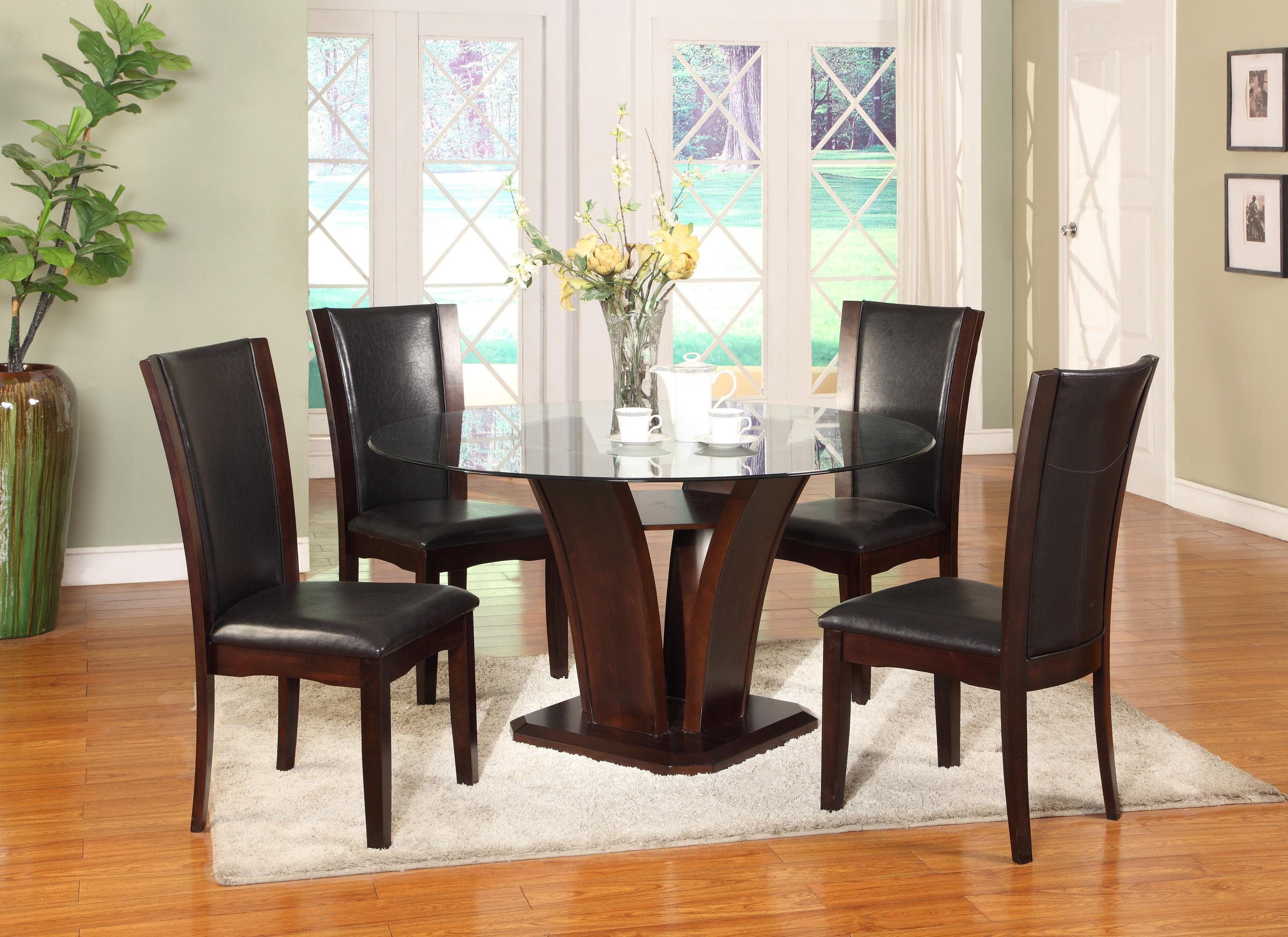Crown Mark Camelia Espresso Round Glass Top Dining Table