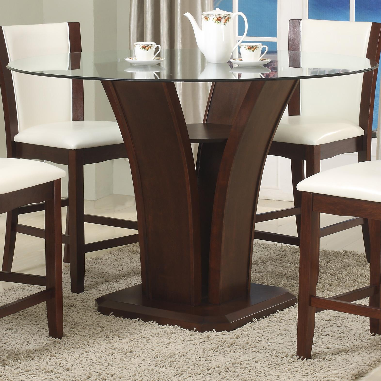 Crown Mark Camelia Espresso Round Gl Top Counter Height Table With Inverted Base