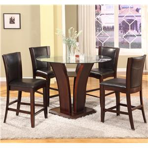 Crown Mark Camelia 5 Piece Espresso Pub Table Set
