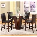 Crown Mark Camelia 5 Piece Espresso Pub Table Set - Item Number: 1710T-54RD-GL+LEG+BASE+4xS-24-ESP