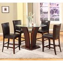 Crown Mark Camelia Espresso 5 Piece Counter Height Table Set - Item Number: 1710T-54RD-GL+LEG+BASE+4xS-24-ESP
