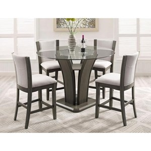 Crown Mark Camelia Grey 5 Piece Pub Table Set