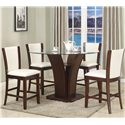 Crown Mark Camelia 5 Piece White Pub Table Set - Item Number: 1710T-54RD-GL+LEG+BASE+4xS-24-WH