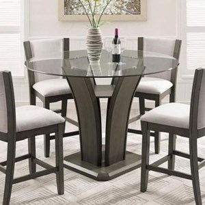 Crown Mark Camelia Grey Glass Counter Height Table