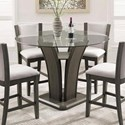 Crown Mark Camelia Grey Glass Counter Height Table - Item Number: 1710T-54RD-GL+LEG-GY+BASE-GY