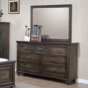 Crown Mark Campbell Dresser and Mirror Set