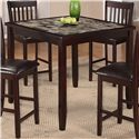 Crown Mark Cascade 5 Piece Counter Height Dinette with Faux Marble Table Top - Table Shown