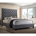 Crown Mark Chantilly Bed Queen Upholstered Bed - Item Number: 5265GY-Q-HB+5265GY-Q-FRW