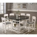 Crown Mark Conner 7 Piece Table and Chair Set - Item Number: 2849CG-T-LEG+TOP+6xS-24